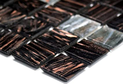 Rete mosaico piastrelle quadrato oro silk grigio scuro vetro