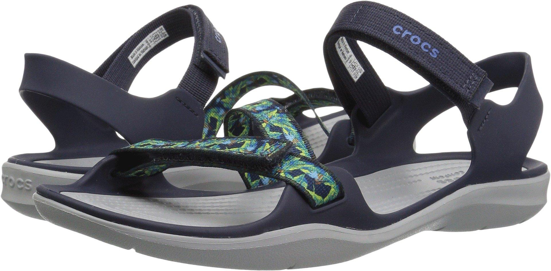 Crocs Women's Swiftwater Webbing W Flat Sandal, Navy, 9 M US