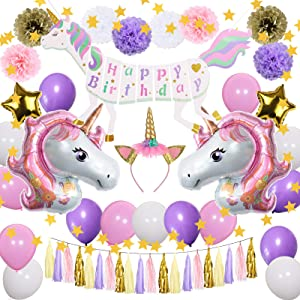 Unicorn Birthday Party Decorations Kit, Unicorn Favors Supplies Gifts for Girls Kids Woman Daughter, Unicorn Happy Birthday Banner, Unicorn Foil Balloons, Tissue Pom Poms Decor Set