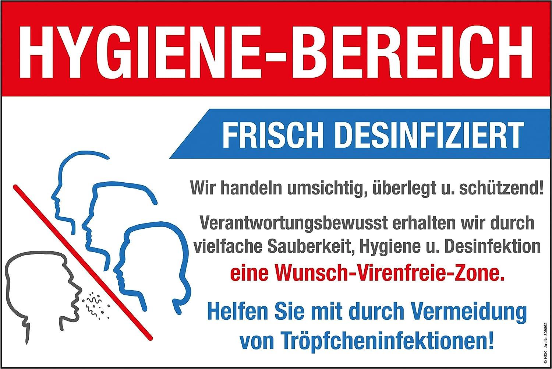 30 x 20 cm ca Hygiene-Bereich Frisch Desinfiziert Warnschild 309892 Schutz vor Viren und Bakterien Gr