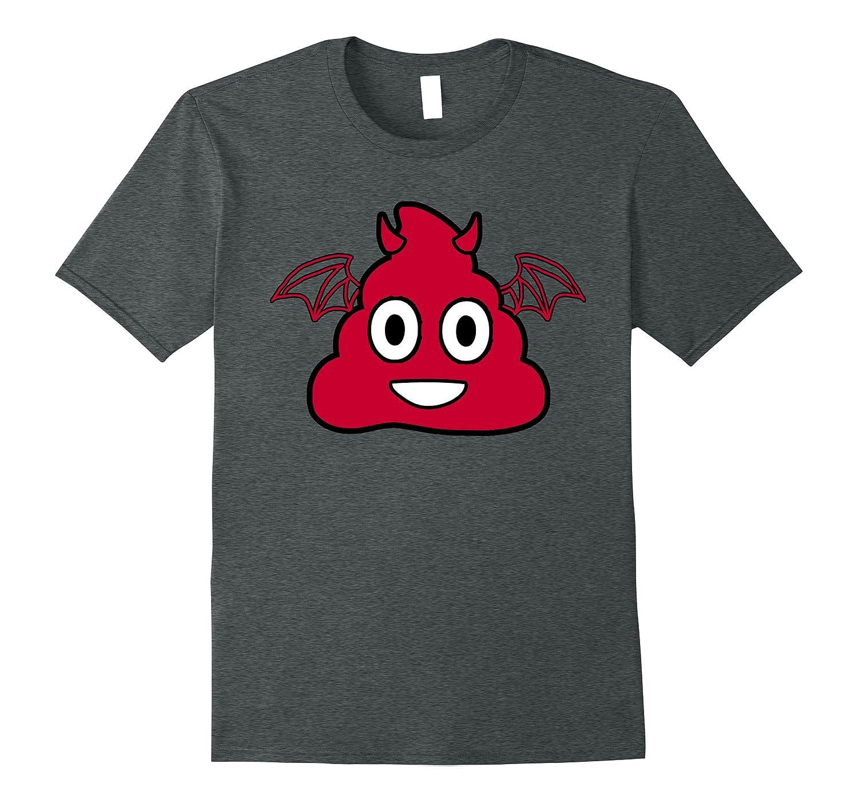 Halloween Devil Poop Emoji T Shirt-CL