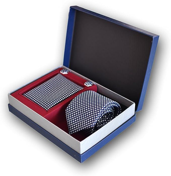 Corbata de hombre, Pañuelo de Bolsillo y Gemelos Azul a Cuadros ...