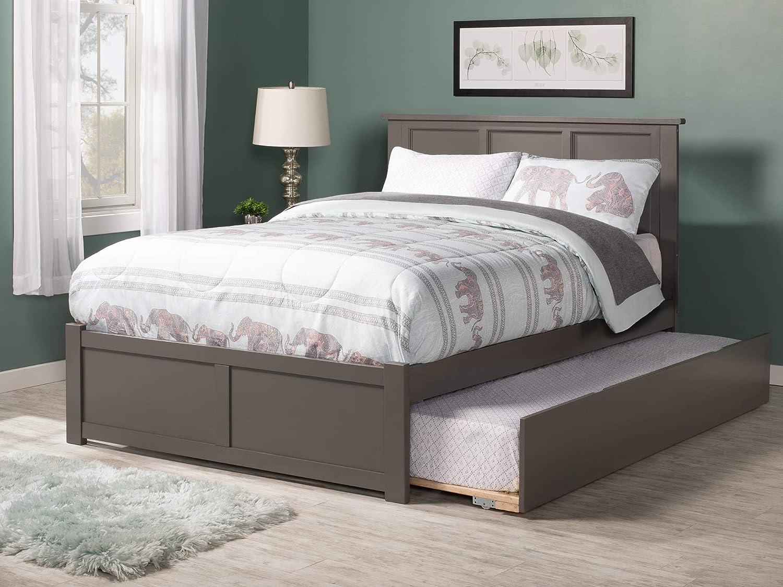 Amazon Com Atlantic Furniture Madison Platform Bed With Flat Panel Footboard And Twin Size Urban Trundle Full Grey Furniture Decor