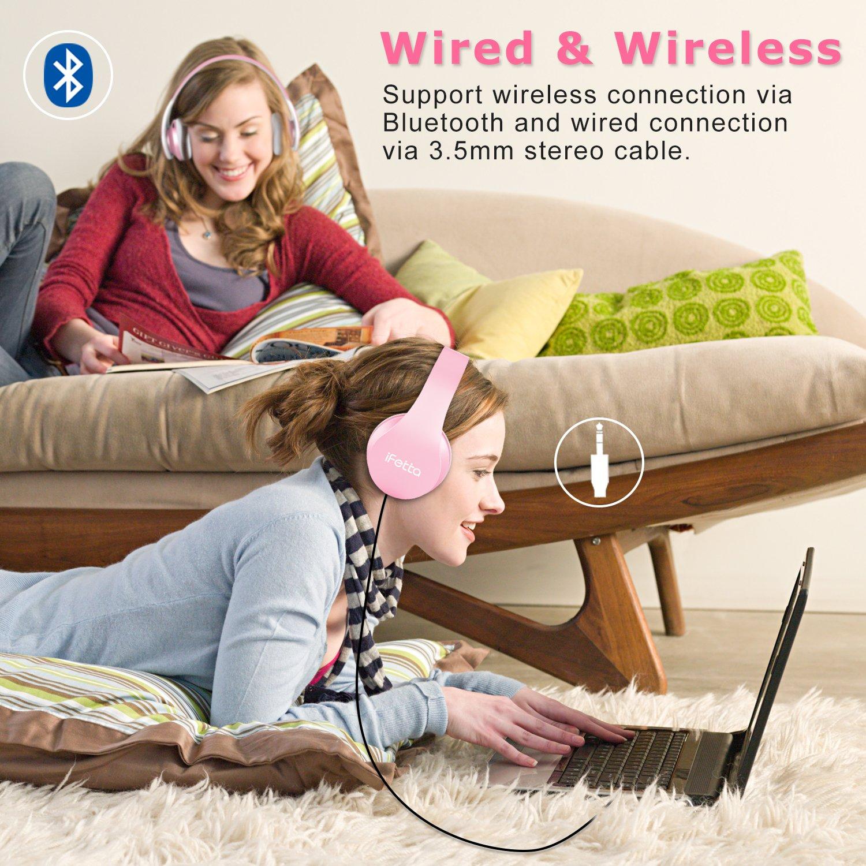 Bluetooth Kopfhörer, Ifecco Bluetooth Over Ear Headset Wirless Ohrpolster Kopfhörer, Stereo-Headset Kompatibel mit Allen Gängigen Smartphones/Tablets/Notebooks (rosa)