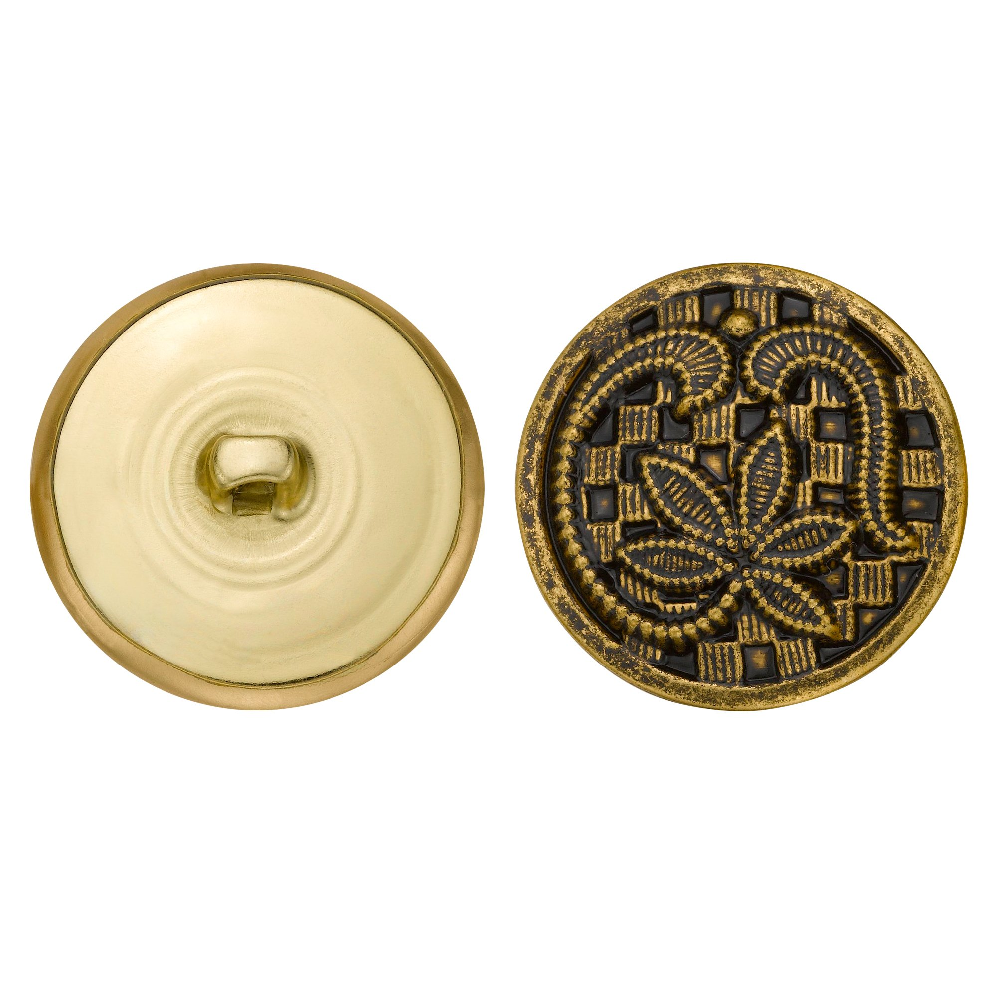 C&C Metal Products 5140 Leaf Over Checkers Metal Button, Size 45 Ligne, Antique Gold, 36-Pack