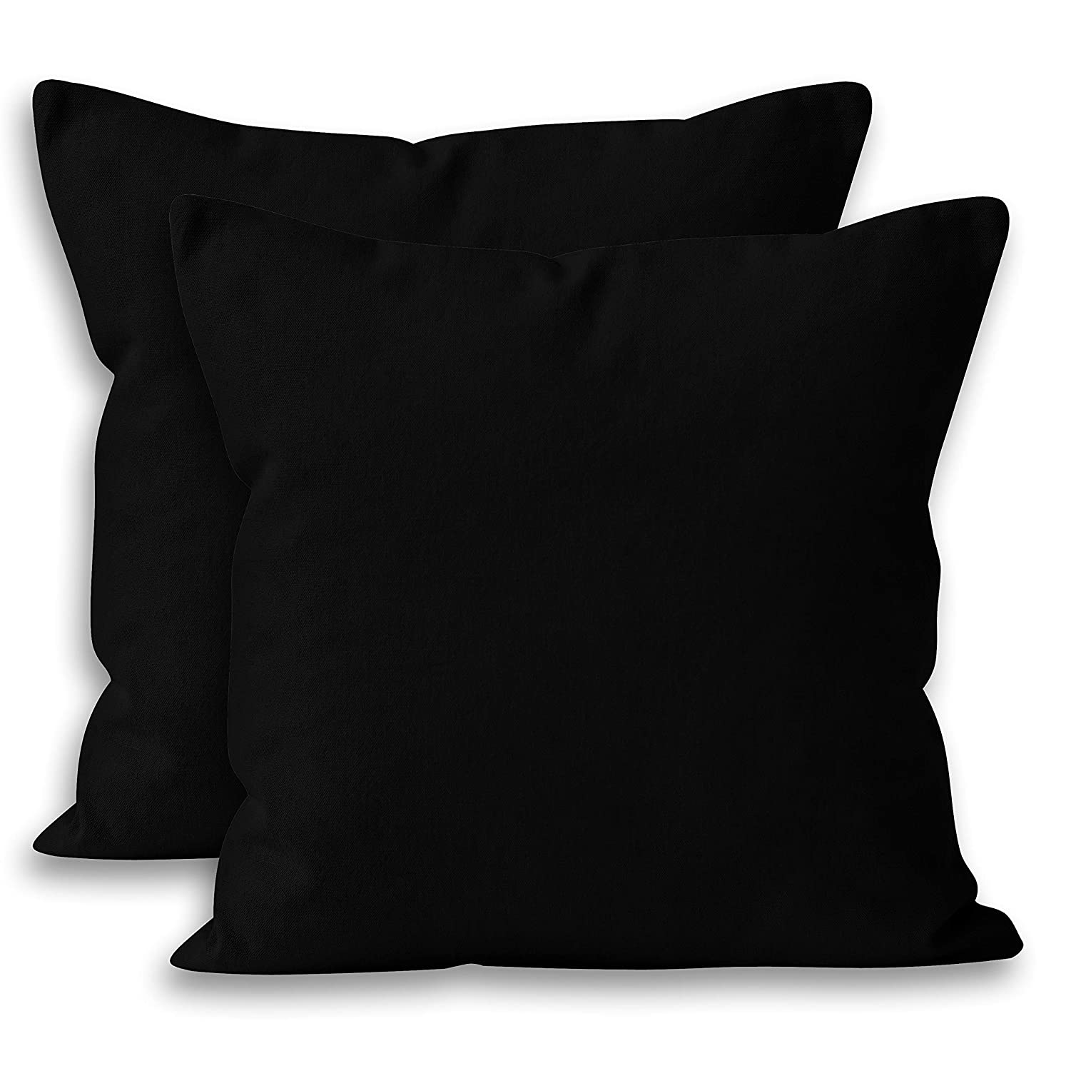 Encasa Homes Throw Cushion Cover 2pc Set - Jet Black - 20 x 20 inch Solid Dyed Cotton Canvas Square Accent Decorative Pillow Case for Couch Sofa Chair ...