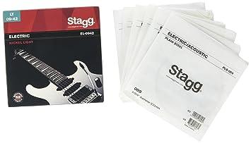 Stagg EL-0942 - Juego de cuerdas para guitarra eléctrica de níquel