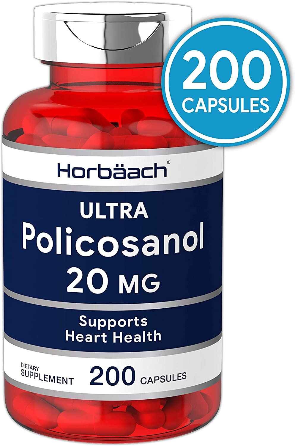 Policosanol 20mg | 200 Capsules | Supports Cholesterol and Heart Health | Non-GMO and Gluten Free | by Horbaach