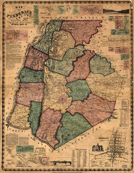 Amazoncom 1858 Map Cities and towns Maryland Frederick Co of
