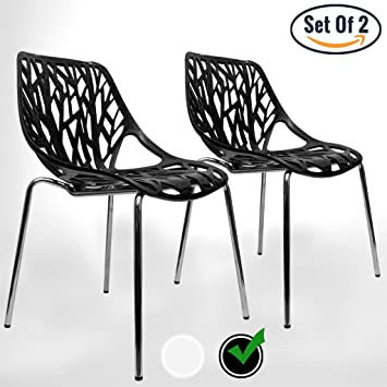 UrbanMod BLACK Modern Dining Chair | (Set Of 2) Stackable Birch Sapling  Accent Armless