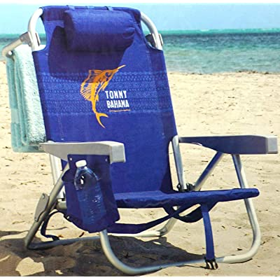 Tommy Bahama Backpack Chair - Insulated Cooler Pouch - 5 Positions (Tropical Stripes) : Sports & Outdoors