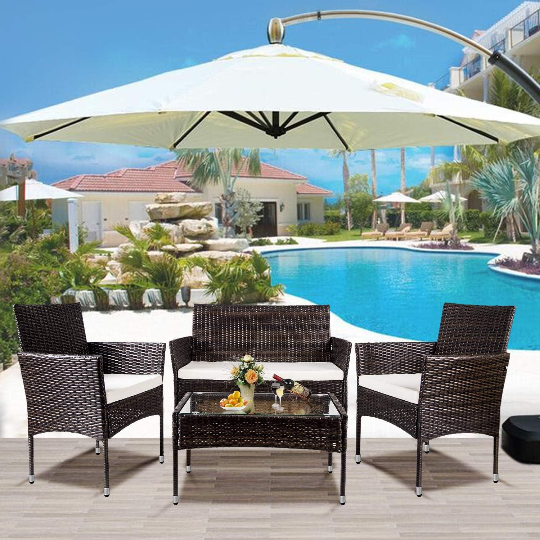 FURLKHY 4 PC Outdoor Garden Rattan Patio Furniture Set Cushioned Seat Wicker Sofa