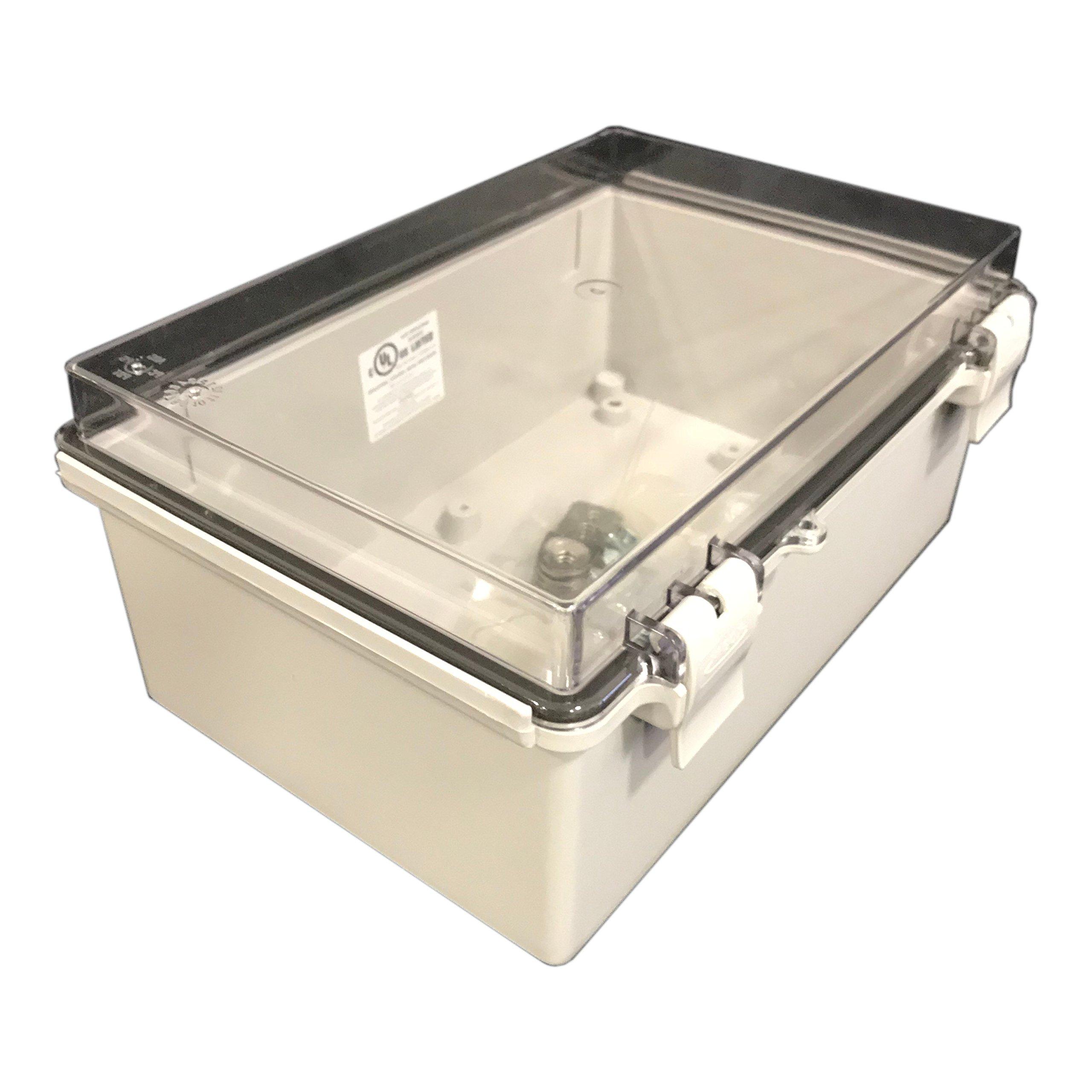 BUD Industries NBF-32416 Plastic Outdoor NEMA Economy Box with Clear Door, 11-51/64'' Length x 7-55/64'' Width x 5-7/64'' Height, Light Gray Finish