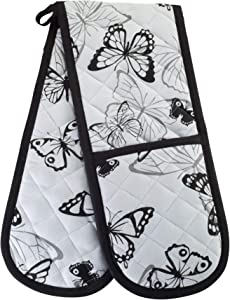 SMART HOME, Fun Summer Butterfly, 1 Piece, Long Double Oven Mitts Gloves, Heat Resistant, 100% Cotton, Extra Thick, Quilted