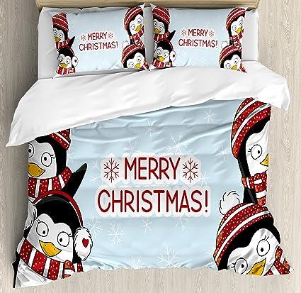 Amazoncom Ambesonne Christmas Duvet Cover Set King Size New Year