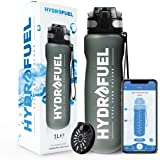 HydroFuel™ Sports Water Bottle 1 Litre - FREE Motivational Hydration Reminder APP With Times To Drink + Custom Reminders - ECO Friendly & BPA Free With Fruit Infuser For Gym, Running, Yoga, Cycling