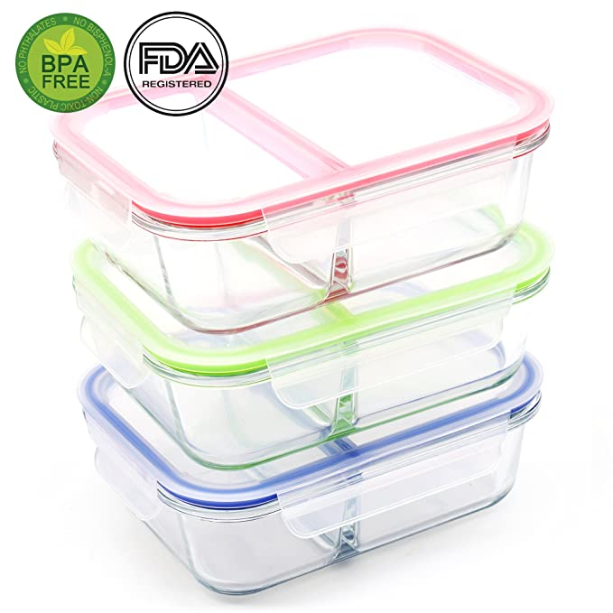 [3-Pack, 36oz] RENPHO Glass Meal Prep Containers 2 Compartment - Food Storage Containers Set Lunch Box Bento Boxes with Airtight Lids BPA-Free - Microwave, Oven, Freezer, Dishwasher Safe