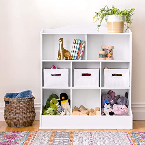 Guidecraft Toy Storage Organizer - White Kids Wooden Multi Shelf Cubby with Bins for Books, Toys and Clothes - Playroom Bookshelf with Baskets