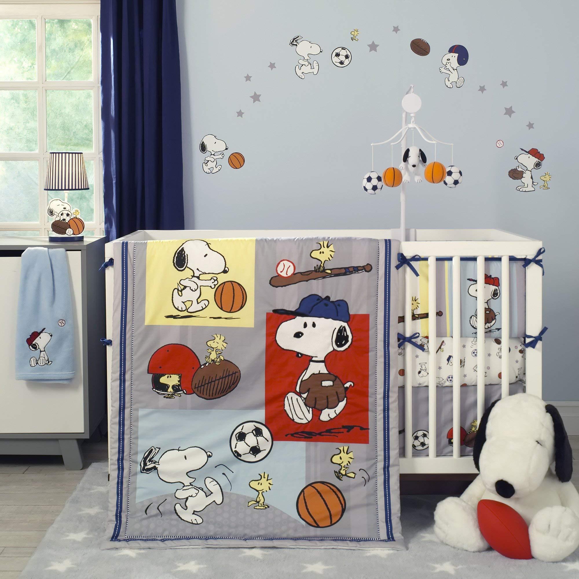 Amazon Bedtime Originals Snoopy Sports 3 Piece Crib Bedding