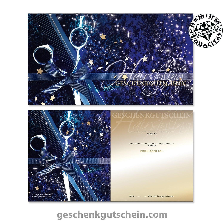 Hochwertige Gutscheinkarten Geschenkgutscheine f/ür Friseure Coiffeure 25 Stk LIEFERZEIT 2 bis 4 Werktage! Haarstudios Hairstylisten K1293
