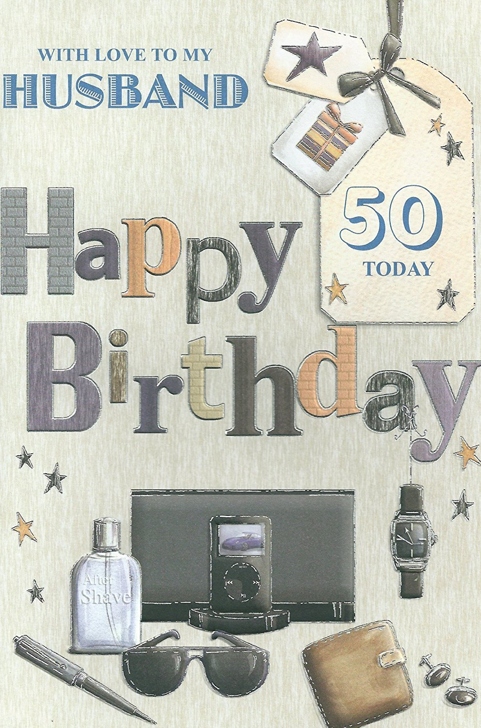 With Love To My Husband On Your 50th Birthday card Amazoncouk – 50th Birthday Card for Husband