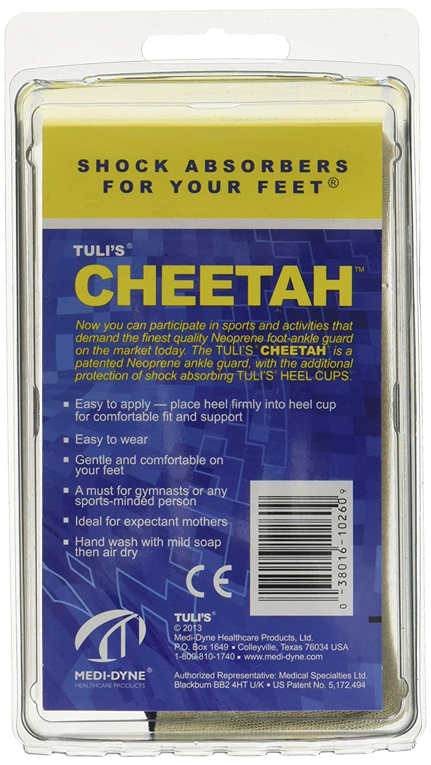 Amazon.com: Tuli's Cheetah Heel Cup for Barefoot Activities - Includes 1  Cheetah - Adult (One Size Fits All): Health & Personal Care