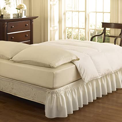 Easy Fit 11577QUEEN/KINGWH Wrap Around Solid Ruffled Queen/King Bed Skirt 80-Inch by 60-Inch with 18-Inch drop, White