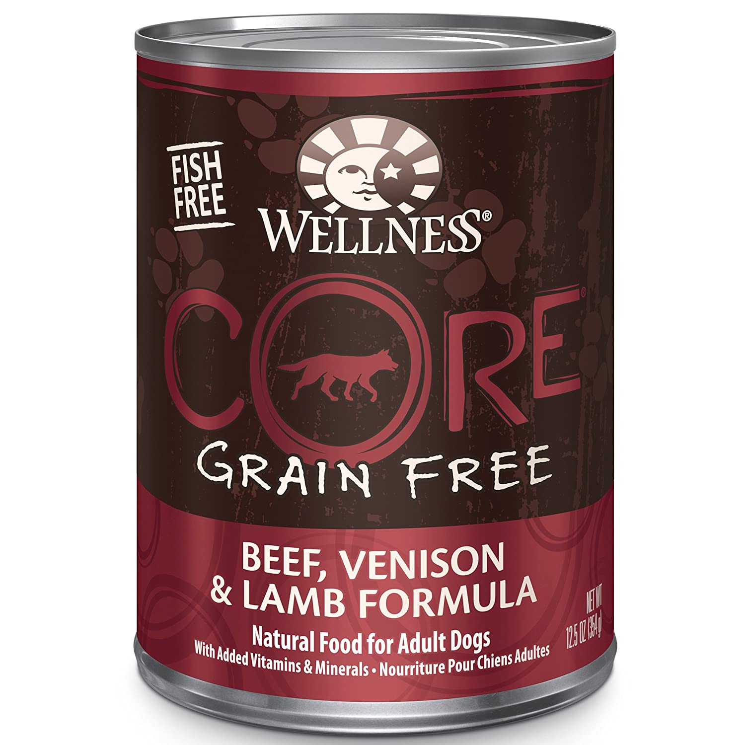 Wellness CORE Grain Free Beef, Venison & Lamb Natural Wet Canned Dog Food, 12.5-Ounce Can (Pack of 12)