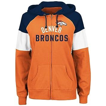 free shipping d93f5 b849b Majestic Denver Broncos Women's Hot Route Orange Zip Up Hooded Sweatshirt