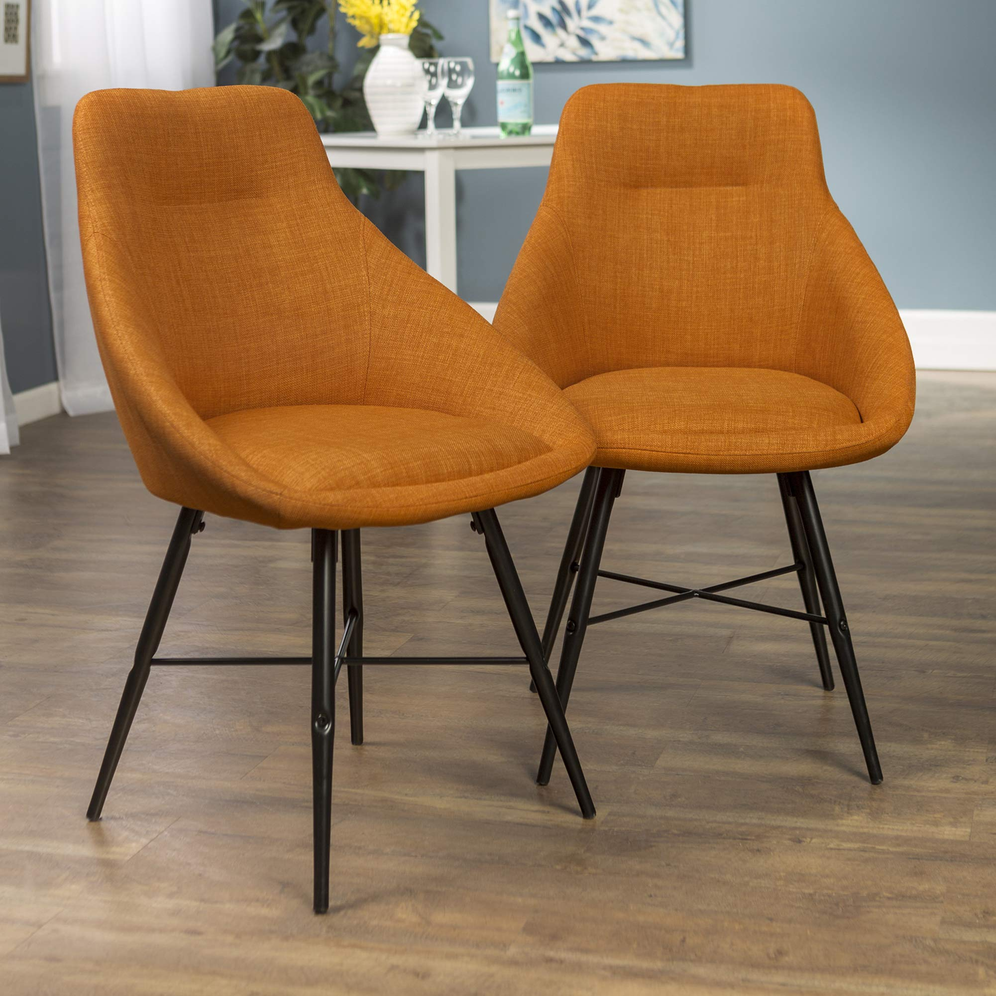 WE Furniture Mid Century Modern Upholstered Fabric Dining Room Chairs, Set of 2, Orange by WE Furniture