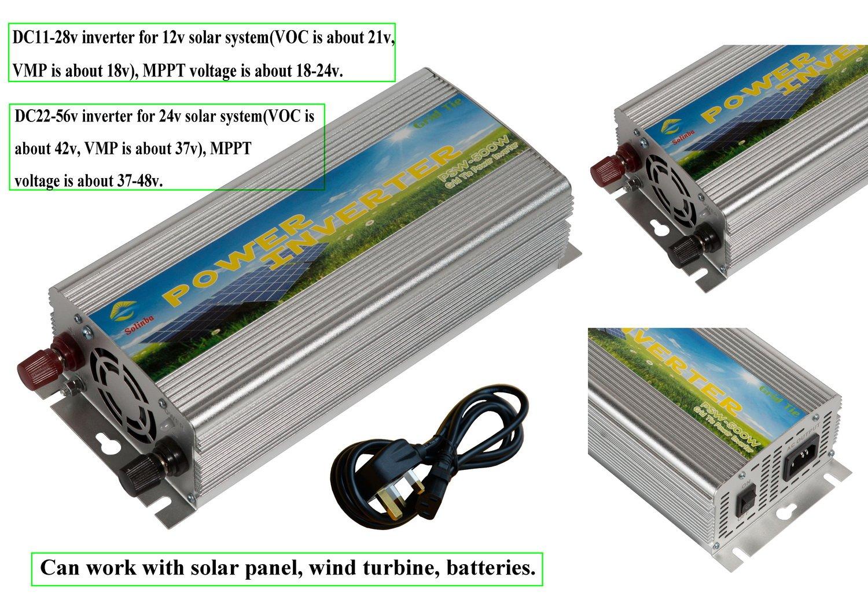Solinba 500w Grid Tie Inverter Solar pure sine wave DC11v-28v to AC 220v UK 500W-GT-11-220-S-UK