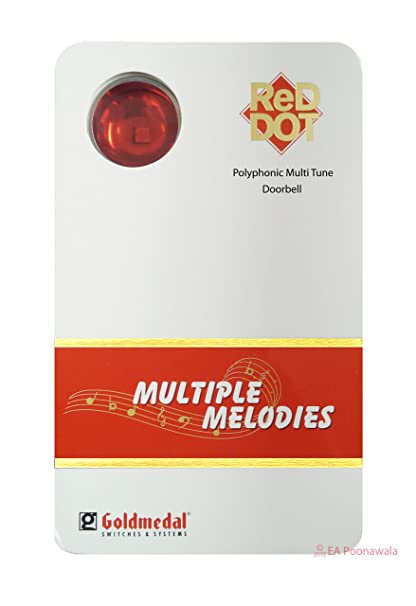 Gold Medal Polyphonic Multiple Melodies Door Bell (White and Red Dot)
