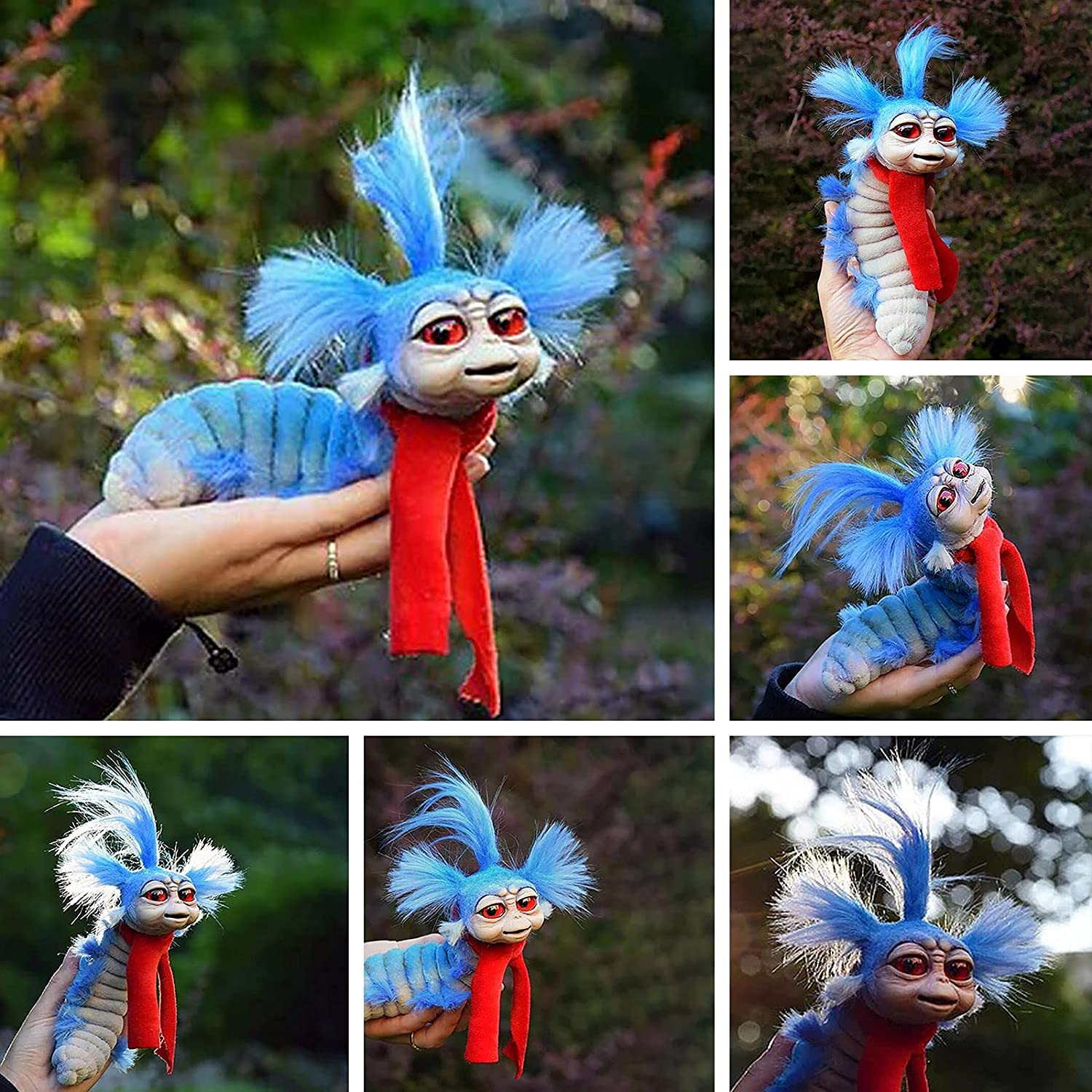 6 in Worm from Labyrinth, Worm from Labyrinth Plush Doll, Handmade Artist Labyrinth Firey Stuffed Toy, Funny Present for Fans of The Maze of The Devil, Garden Statue for Patio Yard Lawn Porch Crafts