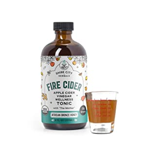 Fire Cider, Tonic, 8 oz with shot glass, African Bronze flavor, 16 Daily Shots, Apple Cider Vinegar, Whole, Raw, Organic, Not Heat Processed, Not Pasteurized, Not Diluted, Paleo, Keto, Whole 30.