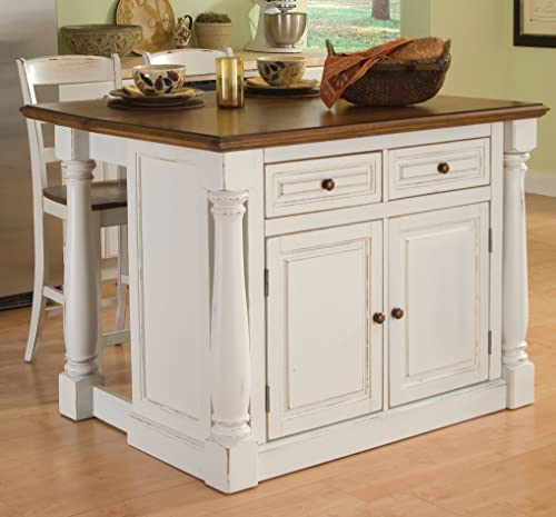 Home Styles Large Monarch Stationary Antique White and Distressed Oak Kitchen Island