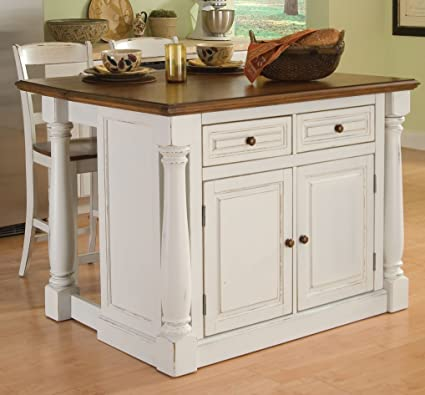 Home Styles 5020 948 Monarch Kitchen Island With 2 Stool, Antiqued White  Finish