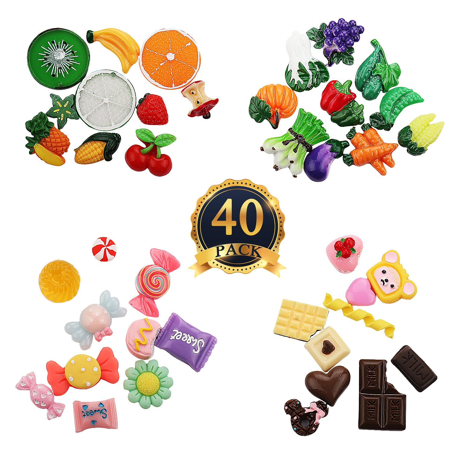SUBANG 40 Pieces Slime Charms Beads Candy Vegetables Fruit Chocolate Ornaments For Slime Decor Accessories   B079NVKY9M