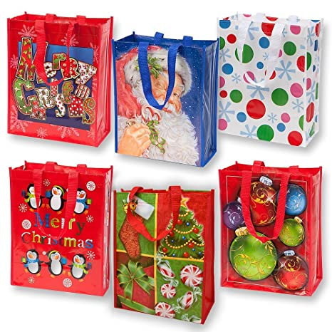 reusable christmas tote gift bags with handles large holiday party favor bags 12 pack by