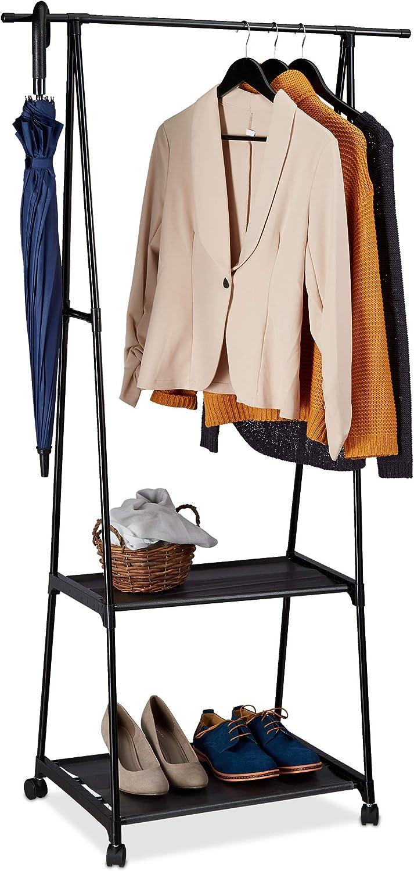 Relaxdays Perchero Burro con Ruedas, 2 Estantes, Colgador Ropa, Recibidor, Hierro-Tela, 1 Ud, 159 x 85 x 44 cm, Negro