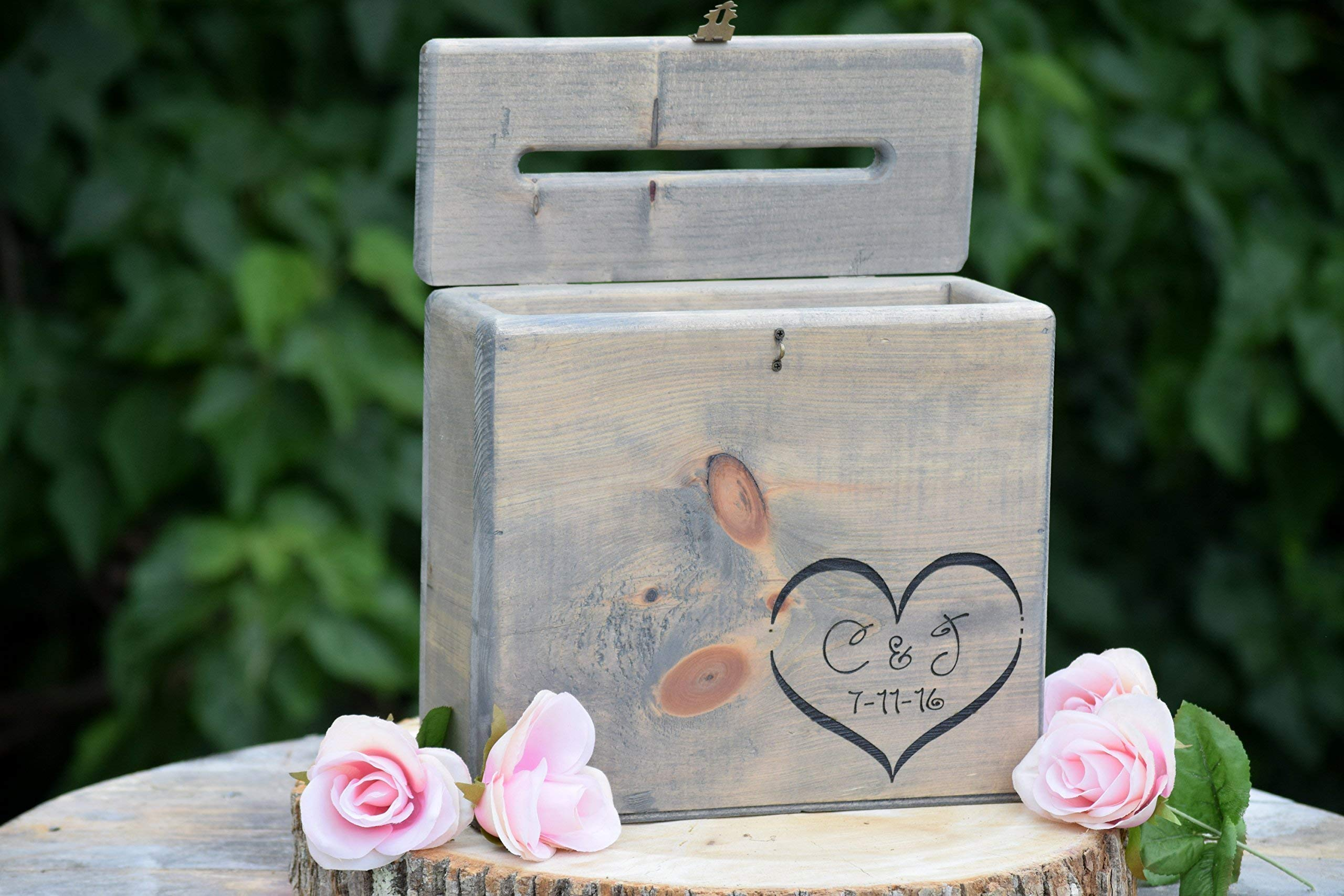 Secured Lockable Card Box with Card Slit - Rustic Wedding Card Box - Wedding Card Holder - Personalized Wedding Keepsake Box - Love Letter Box by Country Barn Babe