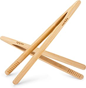 Reusable Classic Bamboo Toast Tongs - Ideal for Toast, Fruits, Bread & Pickles, Kitchen Utensil For Cheese Bacon Muffin Fruits Bread - 8