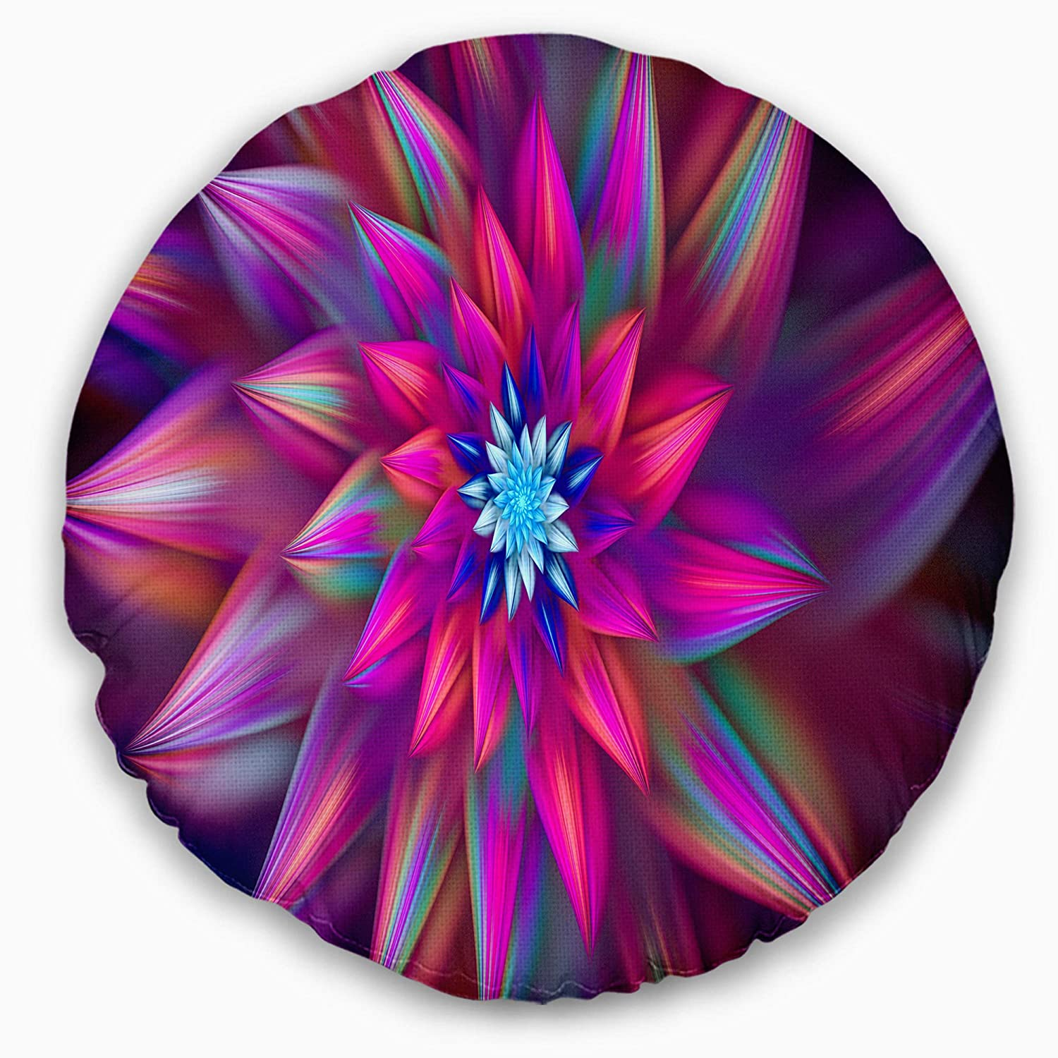 Designart CU15639-20-20-C Huge Purple Pink Fractal Flower' Floral Round Cushion Cover for Living Room, Sofa Throw Pillow 20', Insert Printed On Both Side