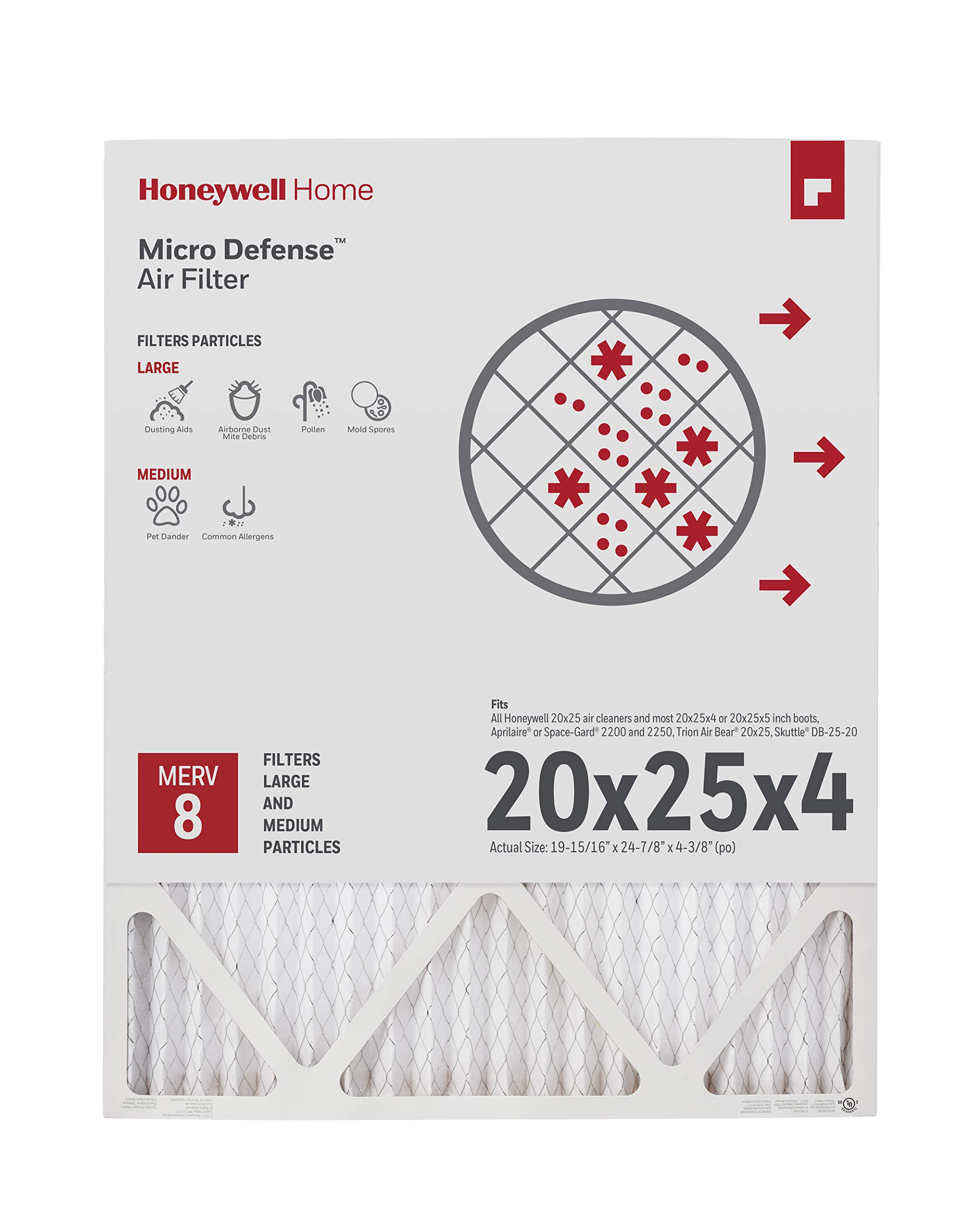 Honeywell Home 4-Inch High Efficiency Air Cleaner Filter, MERV 8 Rating, (CF100A1025) by Honeywell