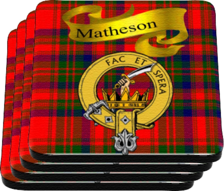 Matheson Scottish Clan Tartan Motto Crest Rubber Drink Coaster