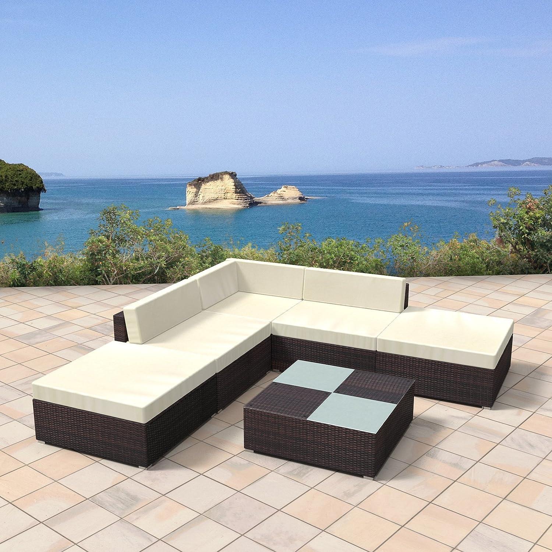 Amazon.de: Rattan Gartenmöbel Lounge Set - Gemütliche 6-teilige ...