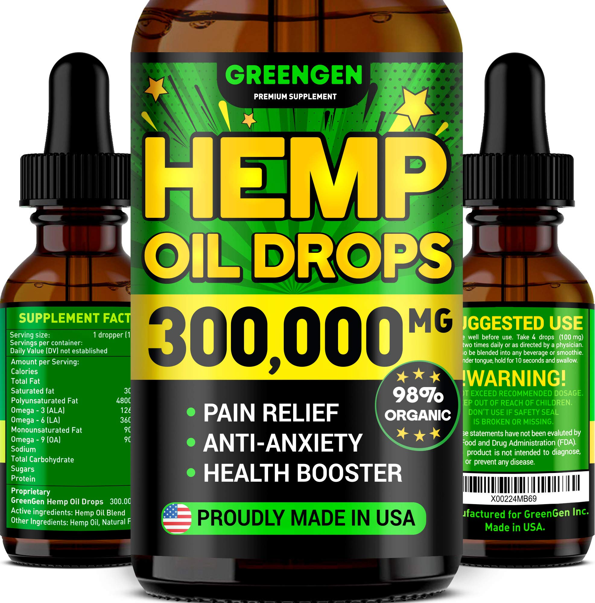 Hemp Oil 300,000mg for Stress Relief - Premium Superstrong Formula - Immunity & Mood Support - 100% Safe & Natural Ingredients - Provides Deep Sleep - Made in USA - Omega 3, 6 & 9 by GREENGEN