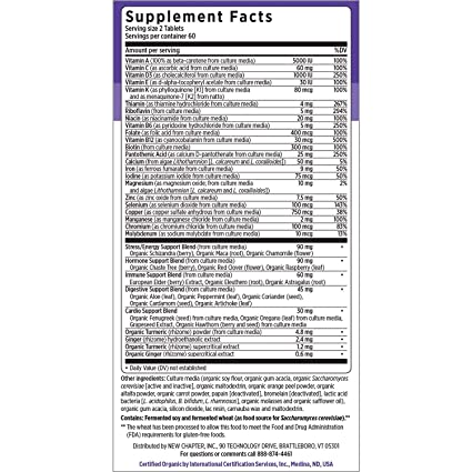 Amazon.com: New Chapter Every Woman, Womens Multivitamin Fermented with Probiotics + Iron + Vitamin D3 + B Vitamins + Organic Non-GMO Ingredients - 120 ct ...