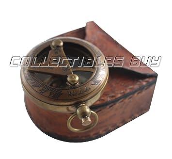 f333bb2ccb8b Vintage latón antiguo bolsillo reloj de sol brújula con funda de piel  marino náutico hecho a