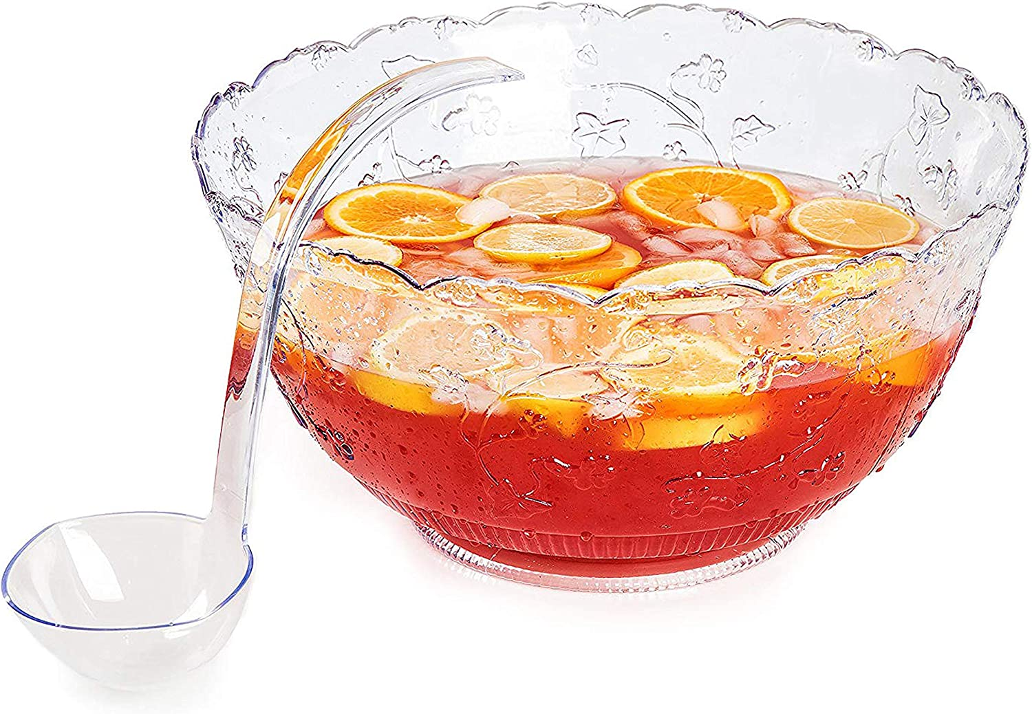 Large 2 Gallon Bowl With 5 oz Ladle by Upper Midland Products Premium Quality Plastic Punch Bowl With Ladle