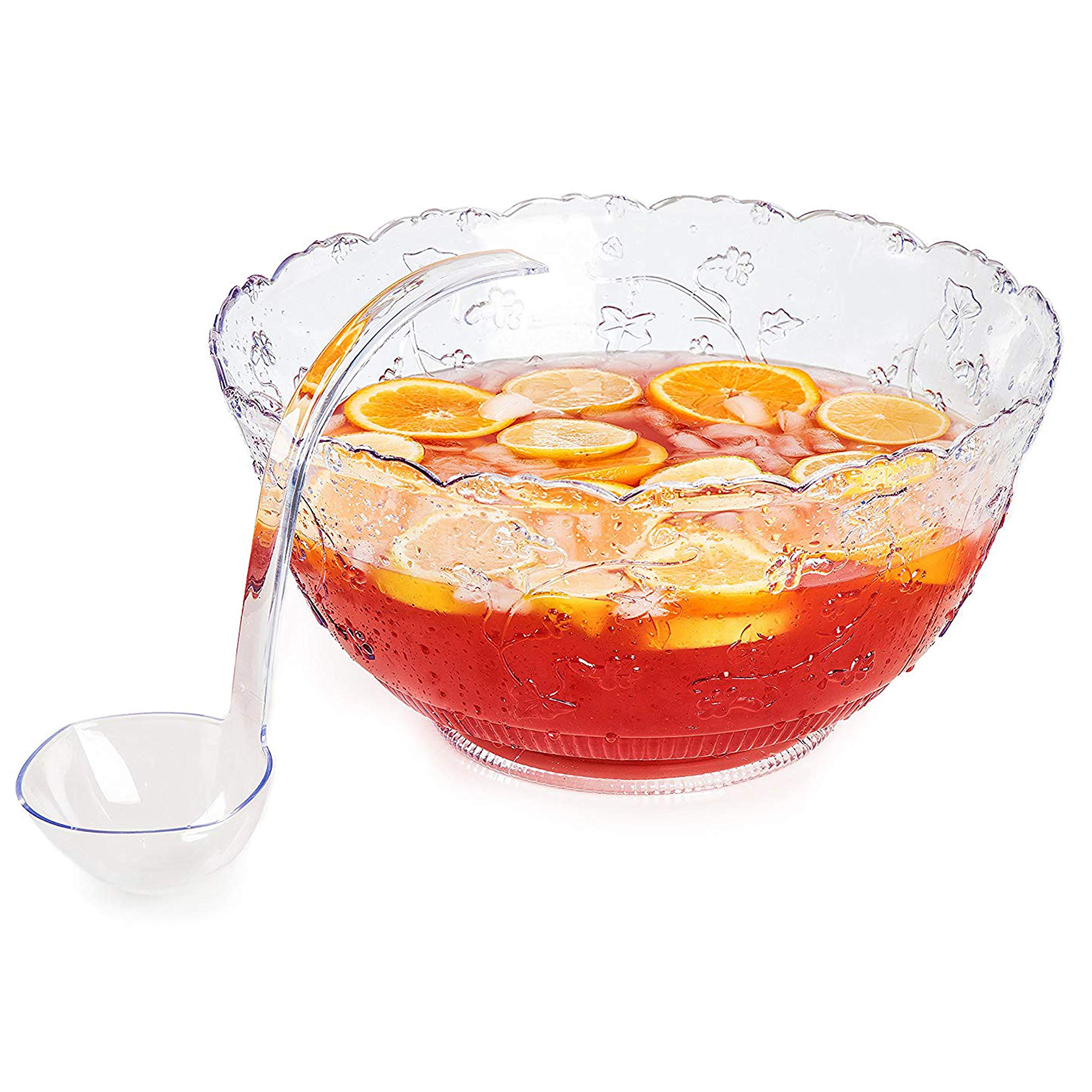 Premium Quality Plastic Punch Bowl With Ladle - Large 2 Gallon Bowl With 5 oz Ladle by Upper Midland Products by Upper Midland Products